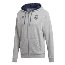 Adidas Real Madrid Full Zip Hoodie (Medium Grey Heather/Night Indigo)