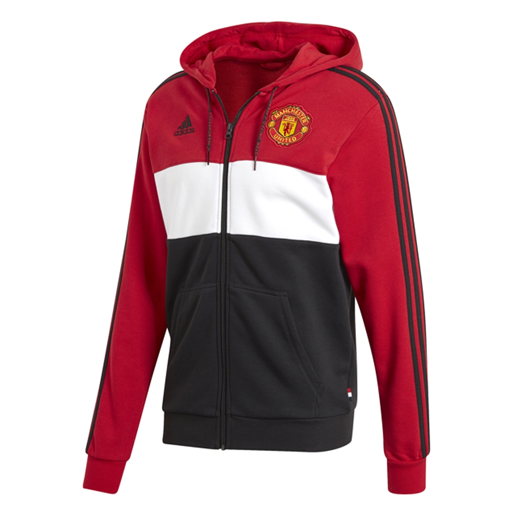 wholesale dealer 9cfd4 86f6d Adidas Manchester United Full Zip Hoodie (Real Red/White/Black)