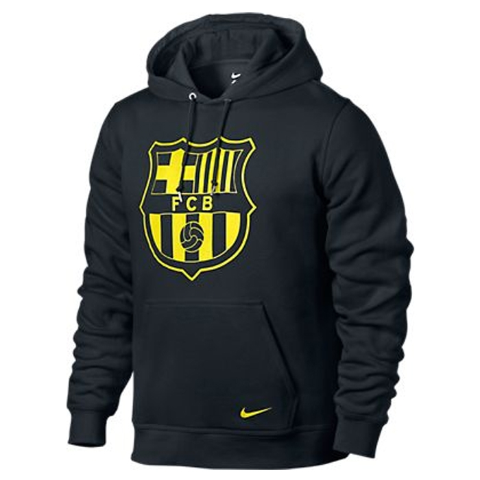 hot sale online e37ff 3a6cb Nike Club FC Barcelona Core Soccer Hoodie (Black/Vibrant Yellow)