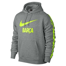 Nike FC Barcelona Club Core Soccer Hoodie (Dark Grey Heather/Volt)
