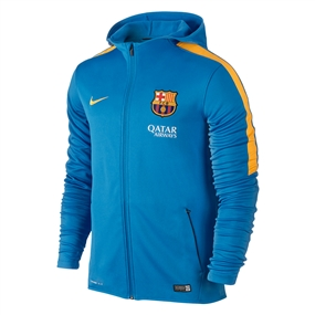 Nike FC Barcelona Graphic Knit Full-Zip Soccer Hoodie (Light Photo Blue/University Gold)