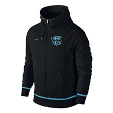 Nike FC Barcelona AW77 Authentic Full Zip Sweatshirt (Black/Light Current Blue)