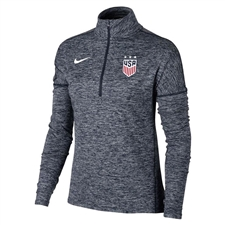Nike Women's USA 3-Star Heather Element 1/2 Zip Top (Navy)