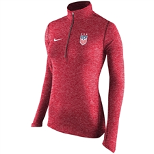 Nike Women's USA 3-Star Heather Element 1/2 Zip Top (University Red)