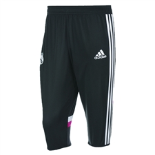 Adidas Men's Real Madrid 3/4 Training Pant (Black/White/Blast Pink)