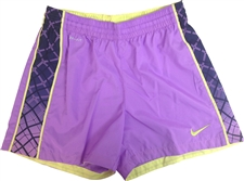 Nike Women's E4 Woven Soccer Shorts (Atomic Purple/Obsidian/Electric Yellow)