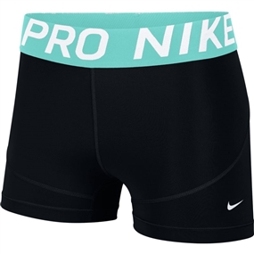 "Nike Women's Pro 3"" Training Shorts (Black/Spirit Teal/White)"