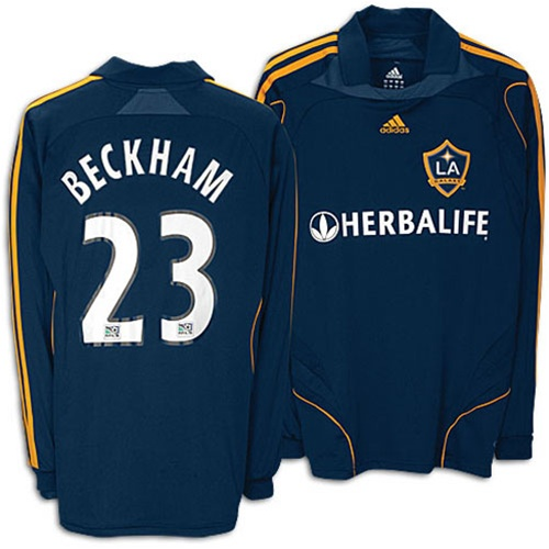 hot sale online 0d619 576e0 Adidas LA Galaxy #23 David Beckham Youth Replica Away Long Sleeve Jersey  (Blue)