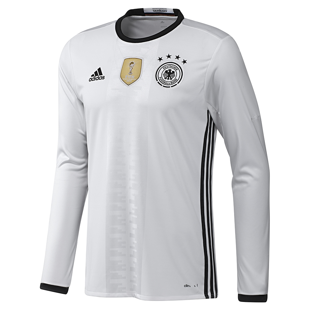 2015 16 Adidas Alemania HOME Long Sleeve Soccer Jersey (White / Black