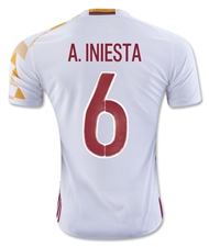 Adidas Spain 'INIESTA 6' Away 2015-16 Soccer Jersey (White/Power Red)
