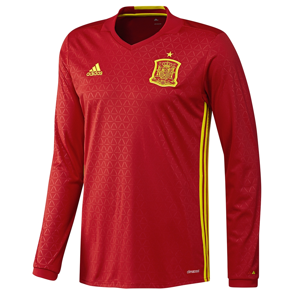 Adidas Spain Home 2015-16 Long Sleeve Soccer Jersey (Scarlet/Bright Yellow)
