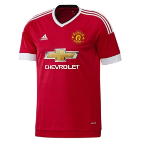 Adidas Manchester United Home '15-'16 Soccer Jersey (Real Red/White/Black)