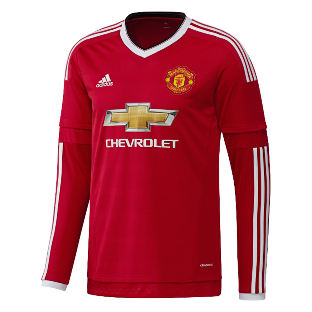 Adidas Manchester United Home '15-'16 Long Sleeve Soccer Jersey (Real Red