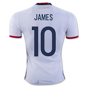 Adidas Colombia Home 2016 'JAMES 10' Soccer Jersey (White/Collegiate Navy/Red)