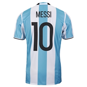 Adidas 'MESSI 10' Argentina Home 2016 Replica Soccer Jersey (Light Blue/White/Black)