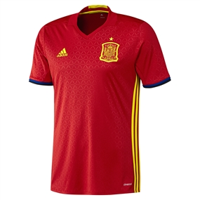 Adidas Spain Home 2015-16 Soccer Jersey (Scarlet/Bright Yellow)