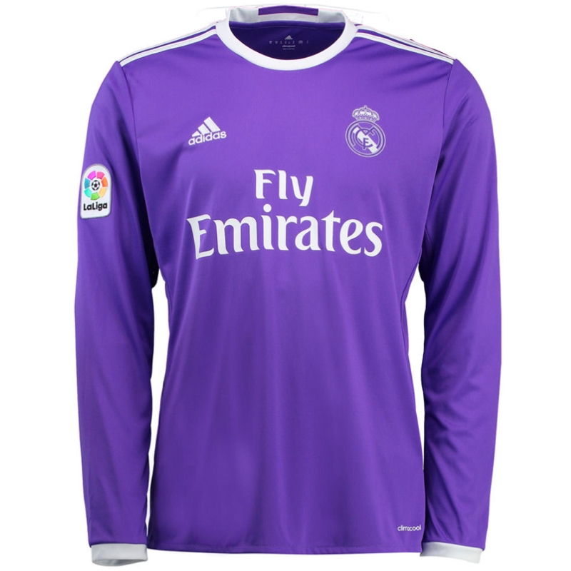 Adidas Real Madrid Away  16- 17 Long Sleeve Soccer Jersey (Purple ... bdc6c1952
