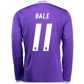 Adidas Real Madrid 'BALE 11' Away '16-'17 Long Sleeve Soccer Jersey (Purple/White)