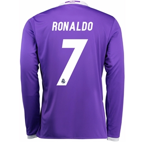 Adidas Real Madrid 'RONALDO 7' Away '16-'17 Long Sleeve Soccer Jersey (Purple/White)