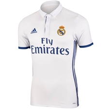 Adidas Real Madrid Authentic Home '16-'17 Soccer Jersey (White/Blue)