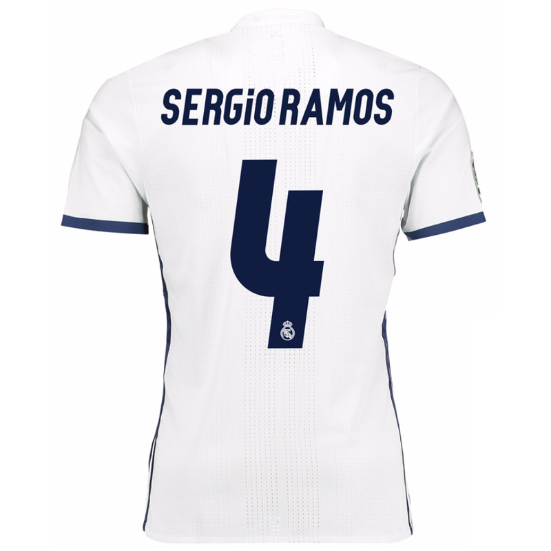new arrival d3d8f 0542c Adidas Real Madrid Authentic 'SERGIO RAMOS 4' Home '16-'17 Soccer Jersey  (White/Blue)