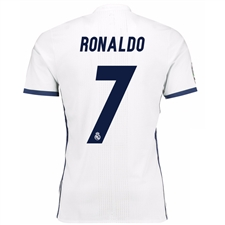 Adidas Real Madrid Authentic 'RONALDO 7' Home '16-'17 Soccer Jersey (White/Blue)