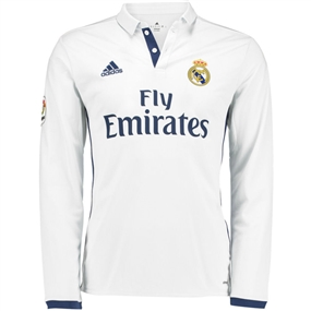 Adidas Real Madrid Home '16-'17 Long Sleeve Soccer Jersey (White/Blue)