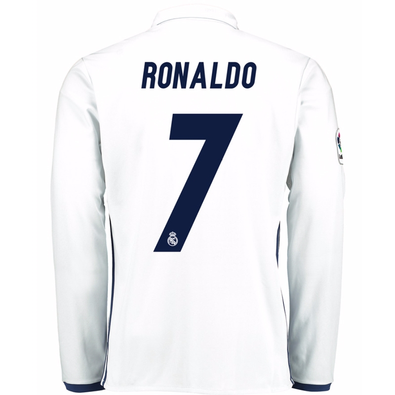 online store fb53c 52740 Adidas Real Madrid 'RONALDO 7' Home '16-'17 Long Sleeve Soccer Jersey  (White/Blue)