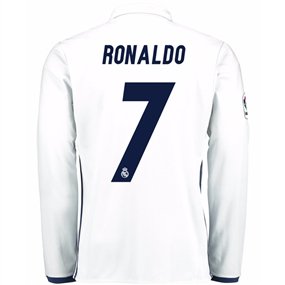 Adidas Real Madrid 'RONALDO 7' Home '16-'17 Long Sleeve Soccer Jersey (White/Blue)