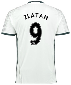 "Adidas Manchester United ""ZLATAN 9"" Third '16-'17 Soccer Jersey (White/Black)"