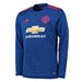 Adidas Manchester United Away '16-'17 Long-Sleeve Soccer Jersey (Royal Blue/Red)