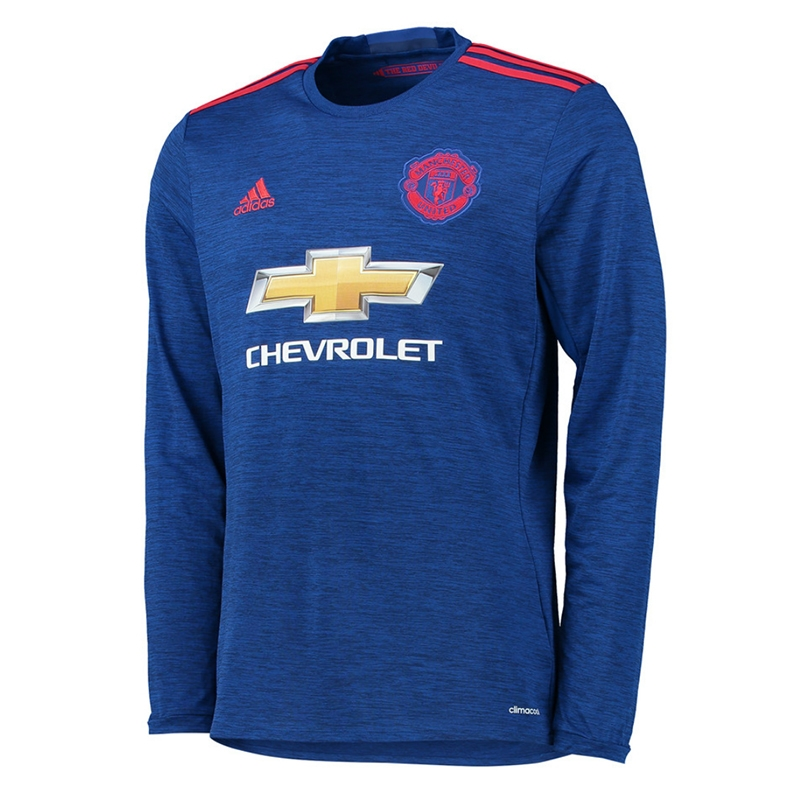 free shipping bc311 8ebc8 Adidas Manchester United Away '16-'17 Long-Sleeve Soccer Jersey (Royal  Blue/Red)