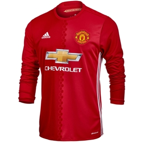 Adidas Manchester United Home '16-'17 Long-Sleeve Soccer Jersey (Real Red/University Red/White)