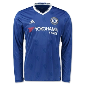 Adidas Chelsea Home '16-'17 Long Sleeve Replica Soccer Jersey (Chelsea Blue/White)