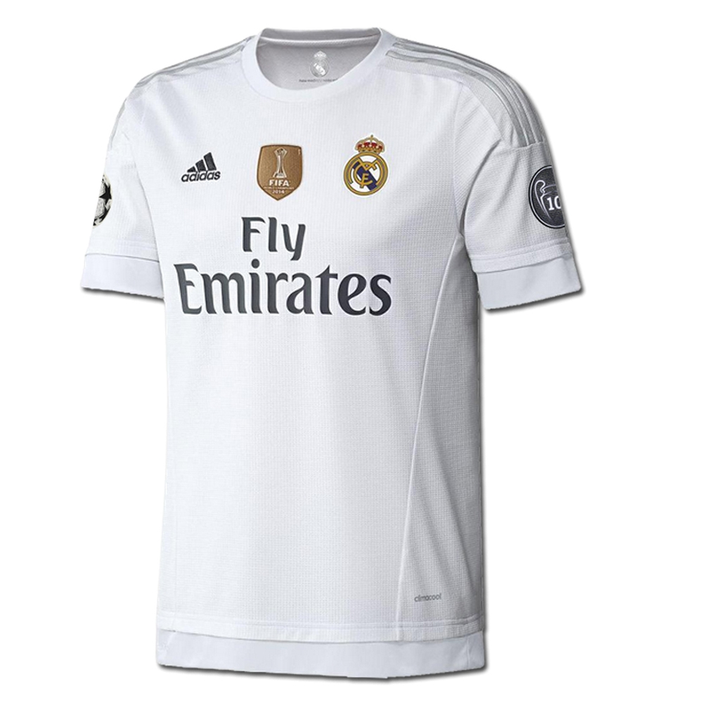 new concept 6e76d d127b Adidas Real Madrid UCL Home '15-'16 Soccer Jersey (White/Clear Grey)