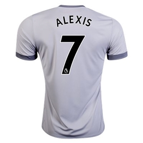 Adidas Manchester United 'ALEXIS 7' Third '17-'18 Soccer Jersey (Solid Grey/White/Grey)