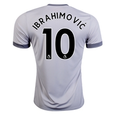 Adidas Manchester United 'IBRAHIMOVIC 10' Third '17-'18 Soccer Jersey (Solid Grey/White/Grey)