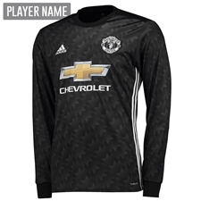 Adidas Manchester United Away '17-'18 Long-Sleeve Soccer Jersey (Black/White/Granite)