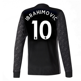 Adidas Manchester United 'IBRAHIMOVIC 10' Away '17-'18 Long-Sleeve Soccer Jersey (Black/White/Granite)