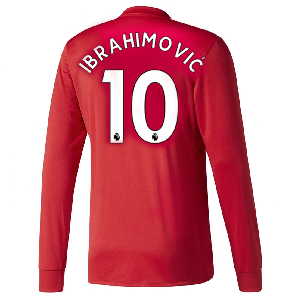 detailed look 0e343 5887b Adidas Manchester United 'IBRAHIMOVIC 10' Home '17-'18 Long-Sleeve Soccer  Jersey (Real Red/White/Black)