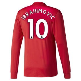 Adidas Manchester United 'IBRAHIMOVIC 10' Home '17-'18 Long-Sleeve Soccer Jersey (Real Red/White/Black)