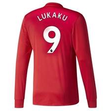 Adidas Manchester United 'LUKAKU 9' Home '17-'18 Long-Sleeve Soccer Jersey (Real Red/White/Black)