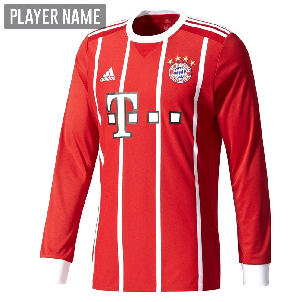 reputable site 8af83 e29b1 Adidas Bayern Munich Home '17-'18 Long Sleeve Soccer Jersey (Red/White)