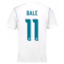 Adidas Real Madrid 'BALE 11' Home '17-'18 Soccer Jersey (White/Vivid Teal)
