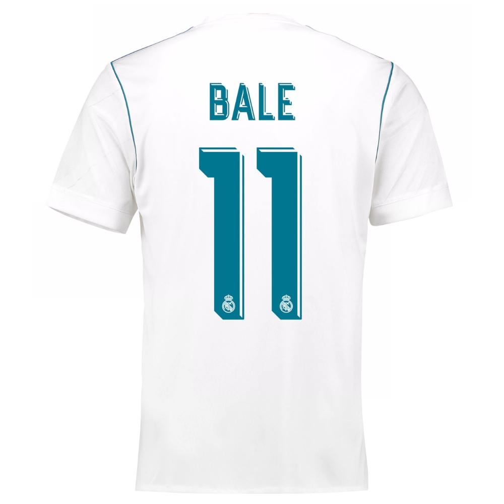 watch 8d20e 2b9c0 Adidas Real Madrid 'BALE 11' Home '17-'18 Soccer Jersey (White/Vivid Teal)