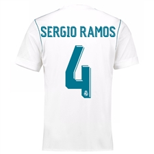 Adidas Real Madrid 'SERGIO RAMOS 4' Home '17-'18 Soccer Jersey (White/Vivid Teal)