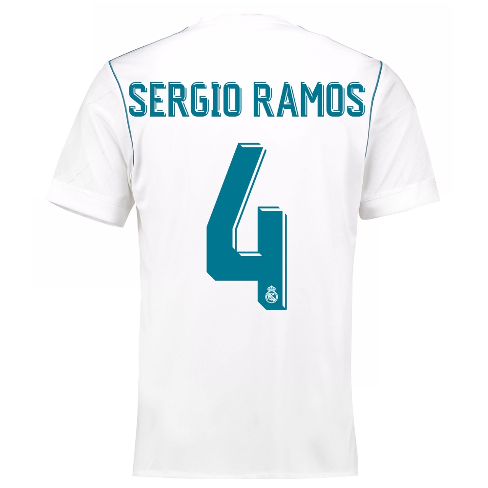 competitive price c8599 a59dc Adidas Real Madrid 'SERGIO RAMOS 4' Home '17-'18 Soccer Jersey (White/Vivid  Teal)