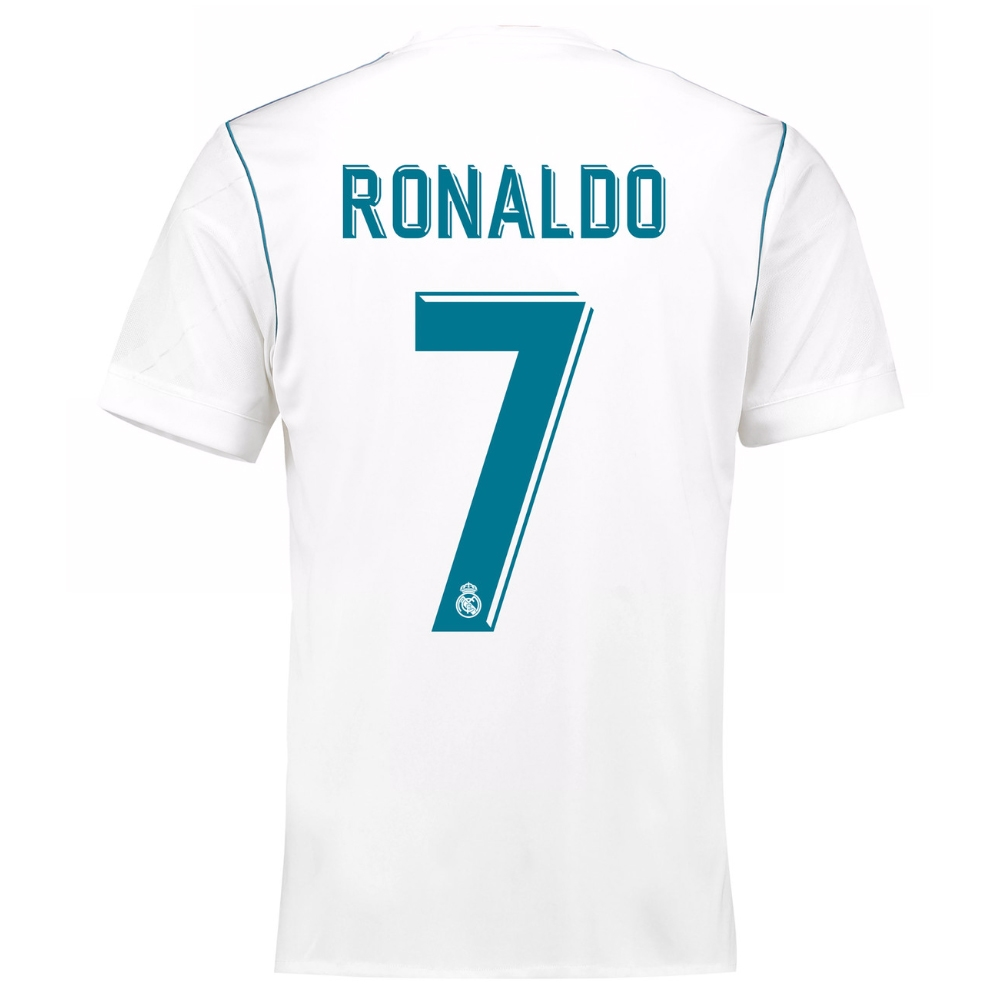 low priced 06be6 f5330 Adidas Real Madrid 'RONALDO 7' Home '17-'18 Soccer Jersey (White/Vivid Teal)