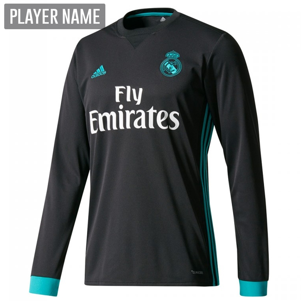 50128f4e0 Adidas Real Madrid Away  17- 18 Long Sleeve Soccer Jersey (Black ...