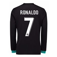 Adidas Real Madrid 'RONALDO 7' Away '17-'18 Long Sleeve Soccer Jersey (Black/Aero Reef)